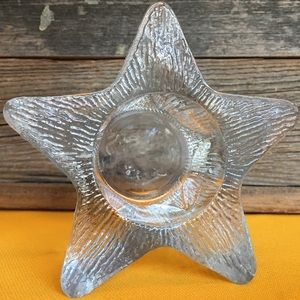 Textured Clear Glass Star Votive Candle Holder
